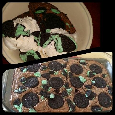 Brownies with chocolate mint oreos