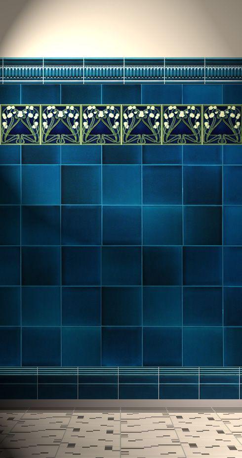 Art Noveau Tiles For Sale At Golem Rich Blue And Lilies