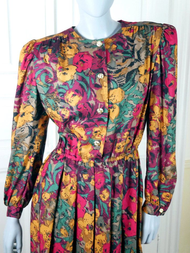 1980s American Vintage Floral Dress Cerise Pink Violet Gold Green Brown Knee Length Professional Summer Dress Dynasty Size 12 Us 16 Uk Vintage Floral Dress Vintage Clothes Shop Vintage Clothes Women