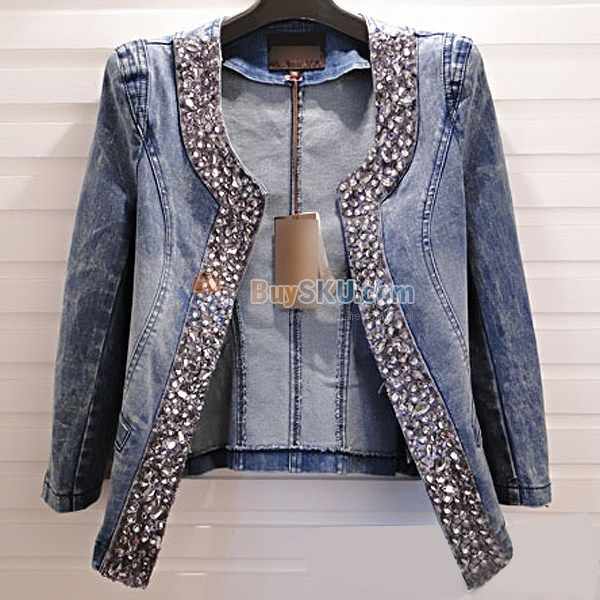 Fashion-Women-Autumn-Rhinestones-Slim-fitting-Denim-Jacket-Three ...