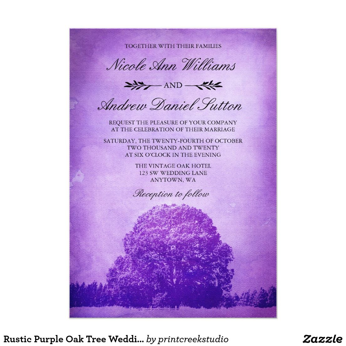 Rustic Purple Oak Tree Wedding 5x7 Paper Invitation Card