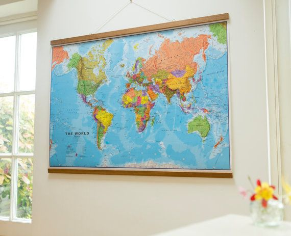 Political Map Of The World Home Wall Hanging Push Pin Map Etsy Framed World Map World Map Poster Wall Maps Framed map of the world