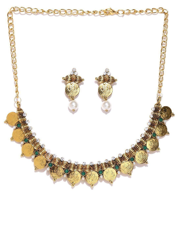 Zaveri pearls goddess laxmi polki coin temple necklace setzpfk