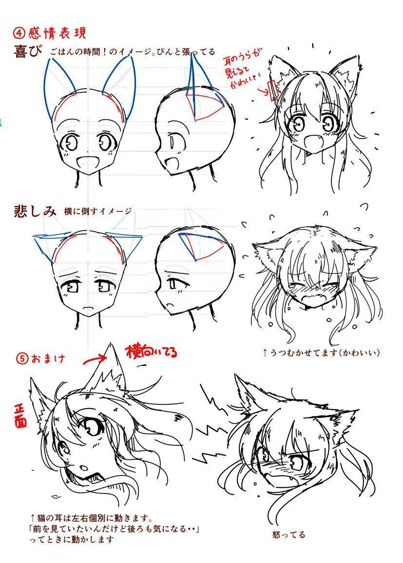 How to draw a neko - girl with cat ears - drawing reference #CatGirl ...