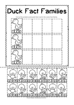 FREE! - no-prep printable fact families cut and paste worksheets ...