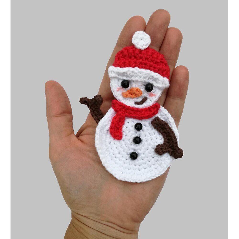 Snowman Applique Crochet Crochet Pattern By Mindundia Mindundia In 2020 Christmas Crochet Patterns Christmas Crochet Christmas Applique Patterns