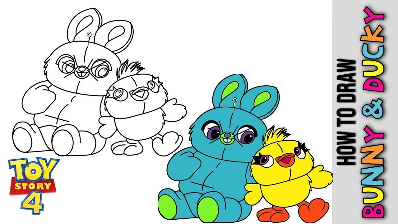 How To Draw Bunny And Ducky From Toy Story 4 Cute Easy Toy Story 4 D Bunny Drawing Toy Story Coloring Pages Simple Toys