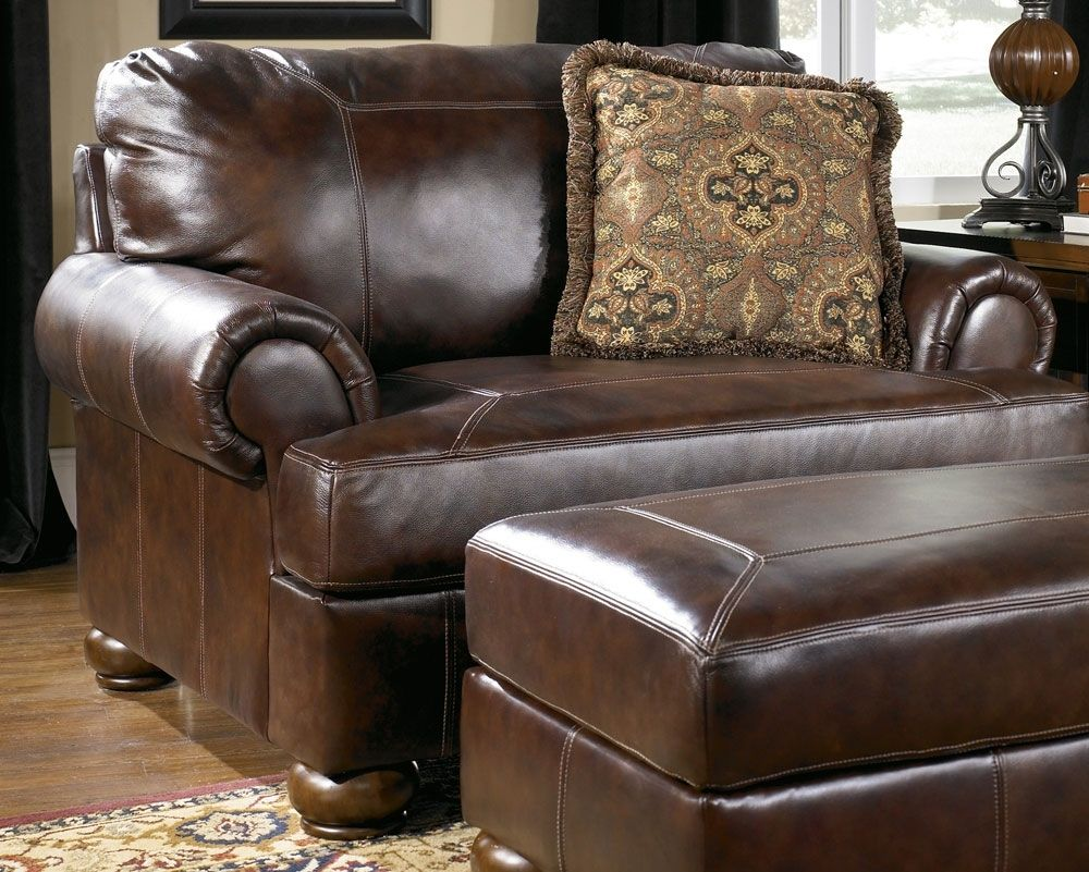 Leather Chair And A Half With Ottoman Chair and a half