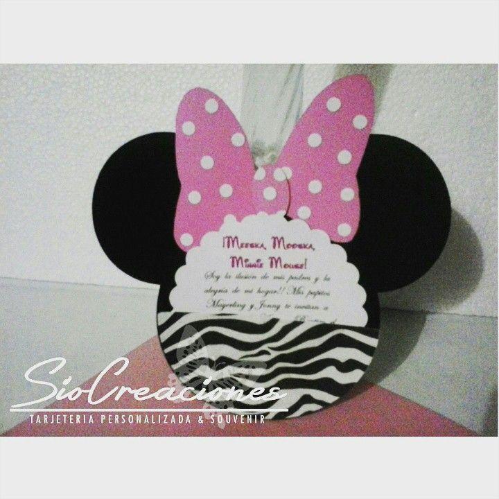 meeska, mooska, minnie mouse! invitacion de minnie con animal, Birthday invitations