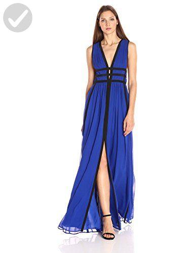 Nicole Miller Women's Gladiator Combo Silk Ggt Low Neck Gown, Cobalt/Black/Cork, 6 - All about women (*Amazon Partner-Link)