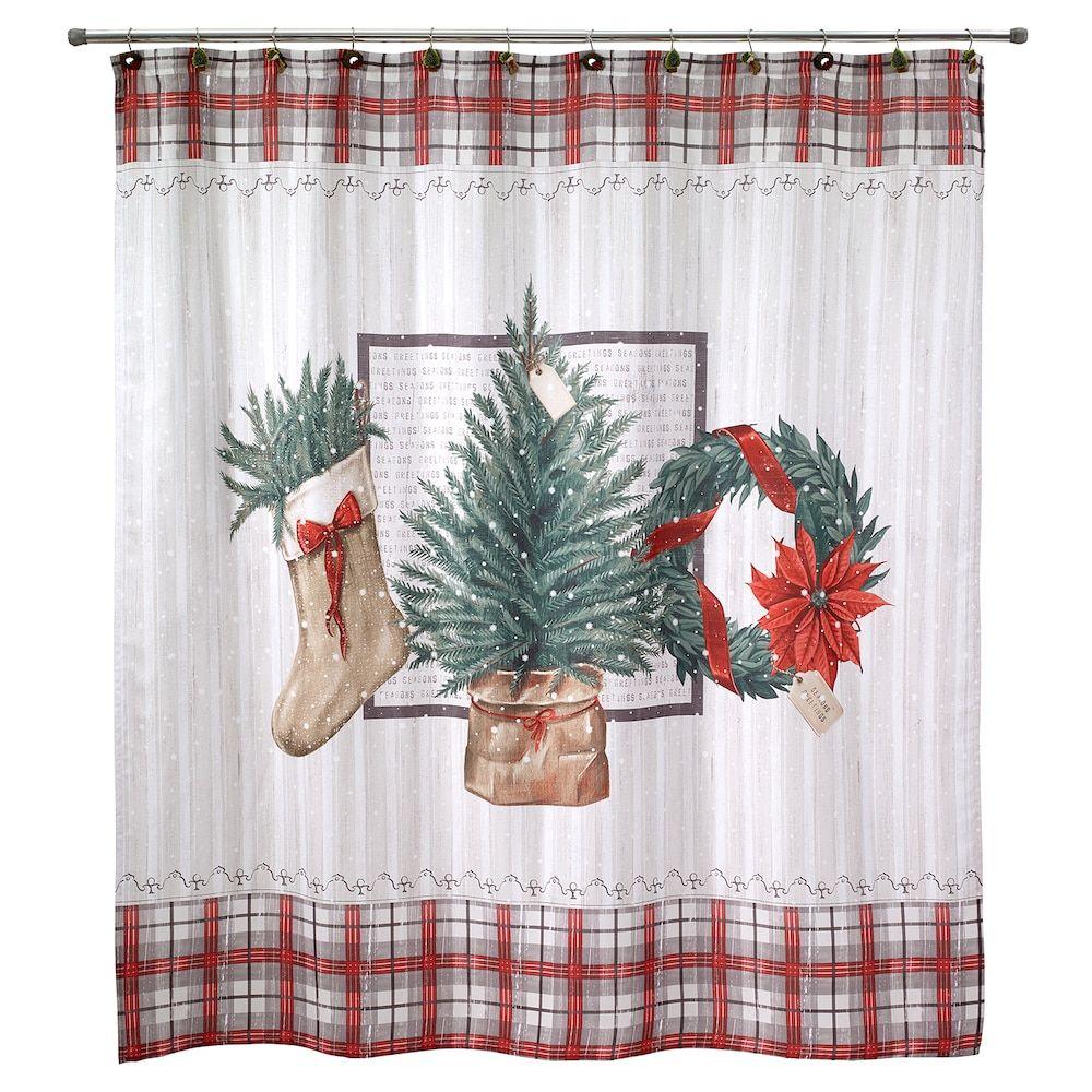 Avanti Farmhouse Holiday Shower Curtain Holiday shower