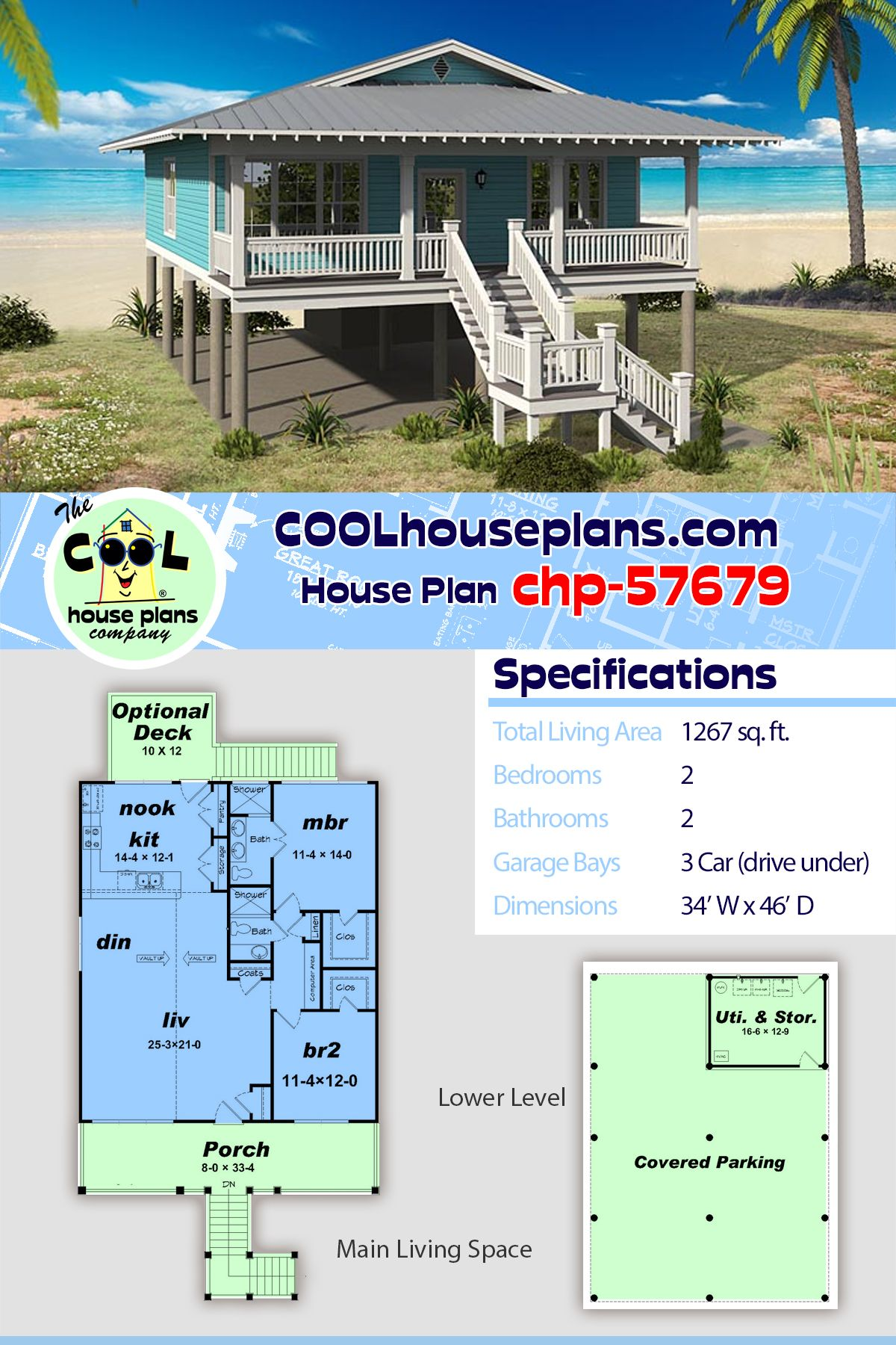 Beach Bungalow Style Home Plan On A Pier Foundation 2 Bedrooms And 2 Bathrooms Beach House Plans Small Beach Houses Beach House Floor Plans