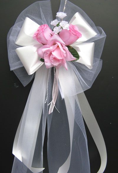 Beautiful pew decorations with roses and tulle wedding pew wedding decorations bows on and swags cake toppers pew bows and other wedding junglespirit Gallery