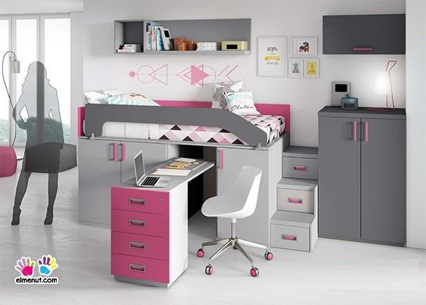 Habitaci n infantil con cama alta sobre armarios block con escritorio habitaci n camas - Cama sobre armario ...