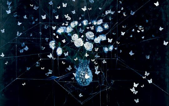 Damien Hirst,one of the blue paintings