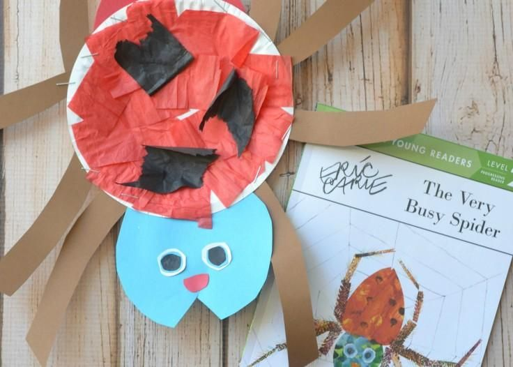 How to make a construction paper spider -- click for more Eric Carle crafts!
