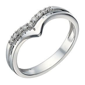 9ct White Gold 10 Point Diamond Wishbone Shaped Ring Product Number 1690779 Wedding Ring Shopping Wedding Rings Online Rings