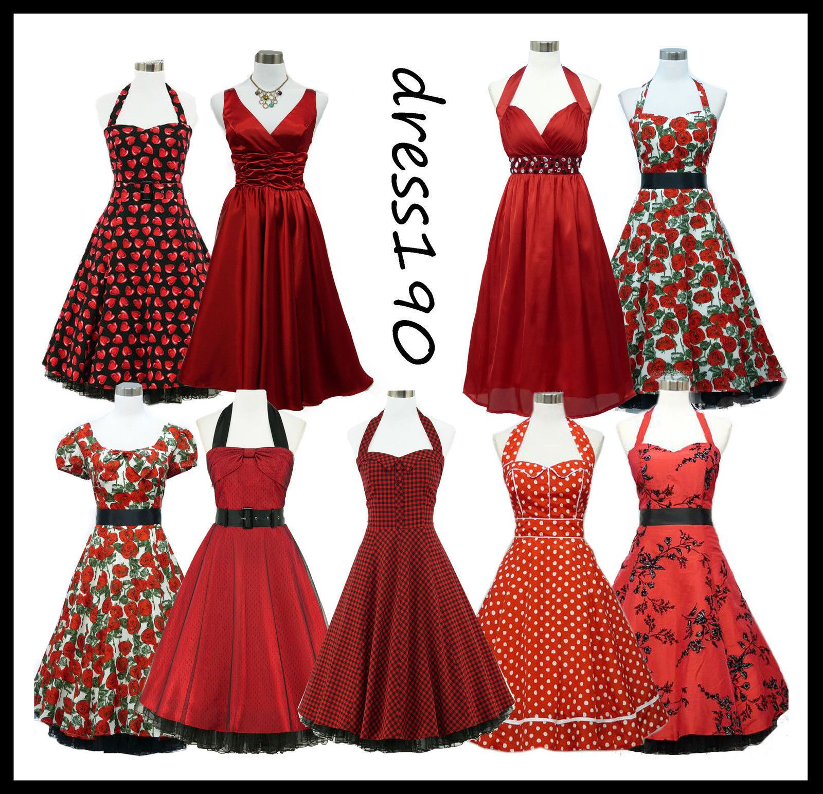 Dress190 Red 50S Rockabilly Pinup Party Prom Ball Gown Cocktail ...