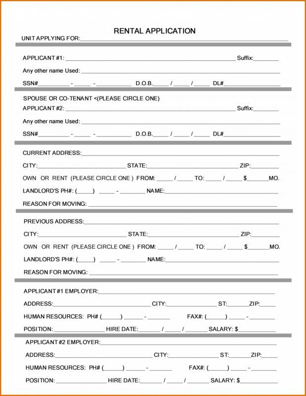 rental application form word