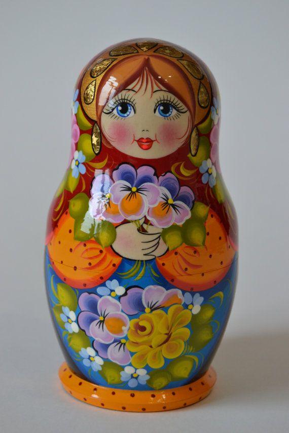 10 Pcs Wooden Babushka Russian Nesting Doll Hand Painted Chicks