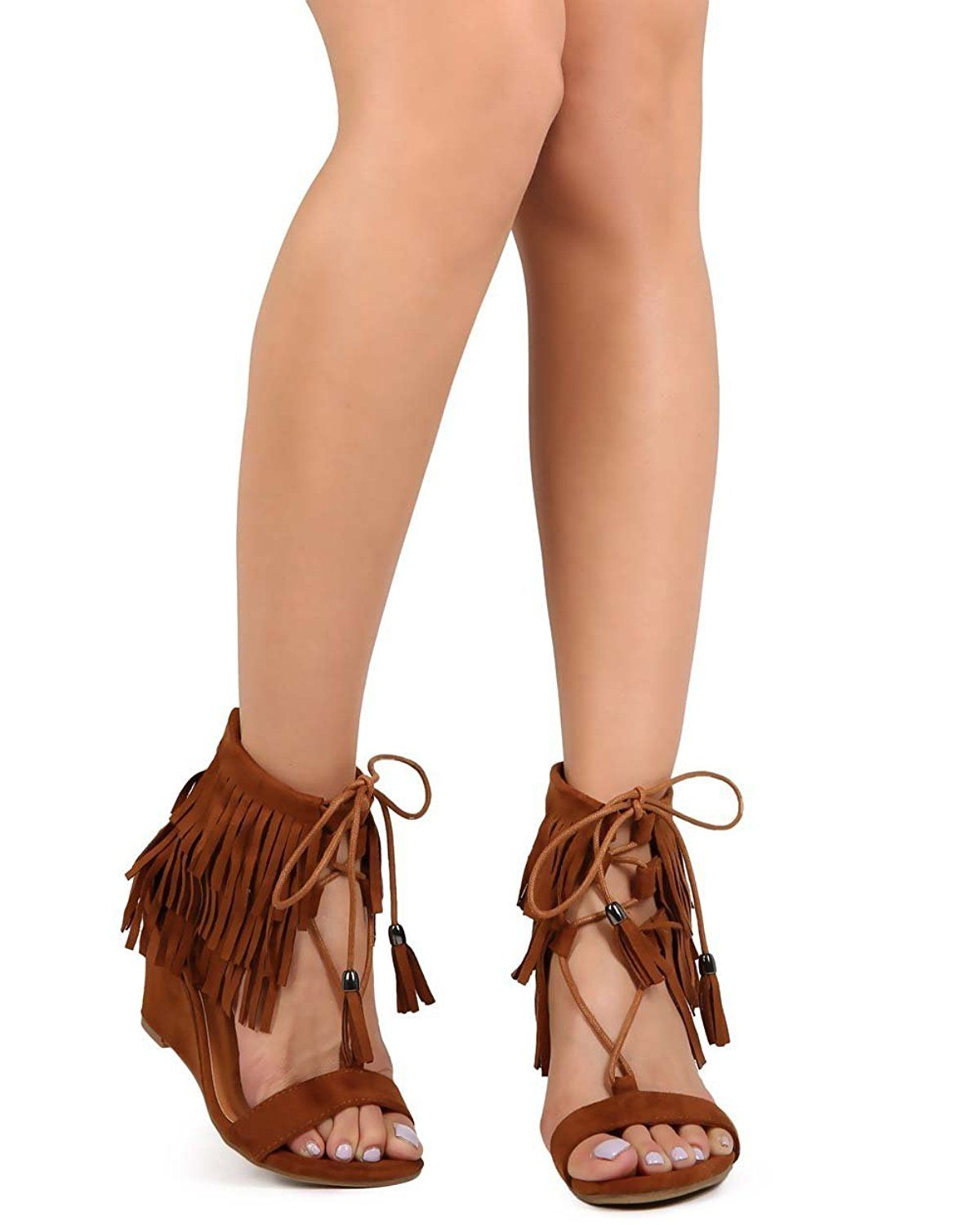 d1cdcee70c2 Nature Breeze EB07 Women Suede Fringe Open Toe Gilly Tie Low Wedge ...