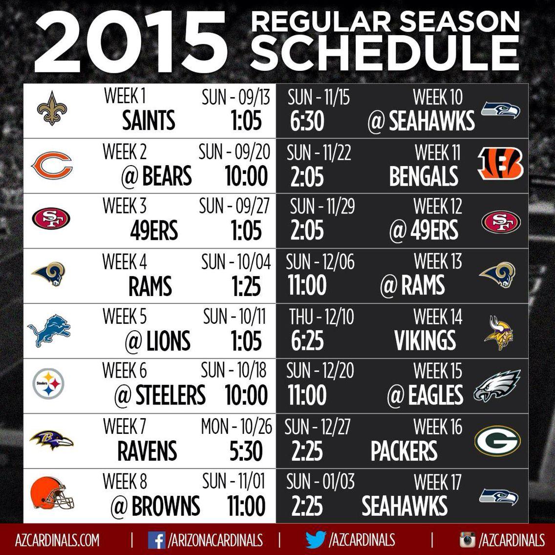 Arizona Cardinals 2015 regular season! Let's go bigred