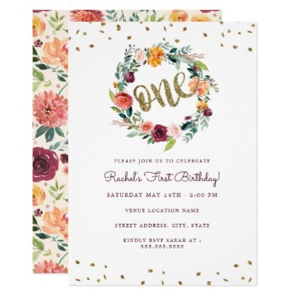 Floral one wreath gold burgundy first birthday card kids kid child floral one wreath gold burgundy first birthday card kids kid child gift idea diy personalize bookmarktalkfo Choice Image