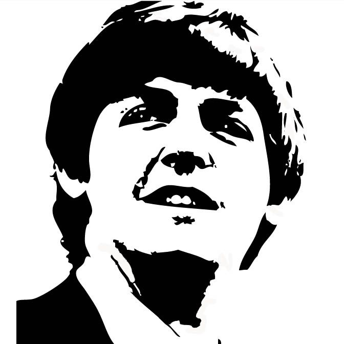 Black and white vector of paul mccartney in photo shop image