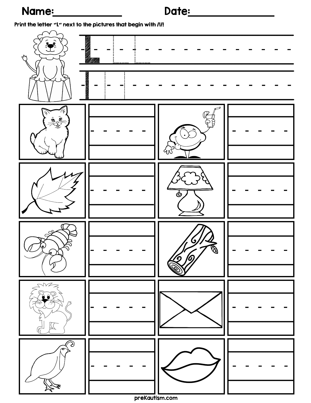 Initial Consonant Practice Worksheets Practices