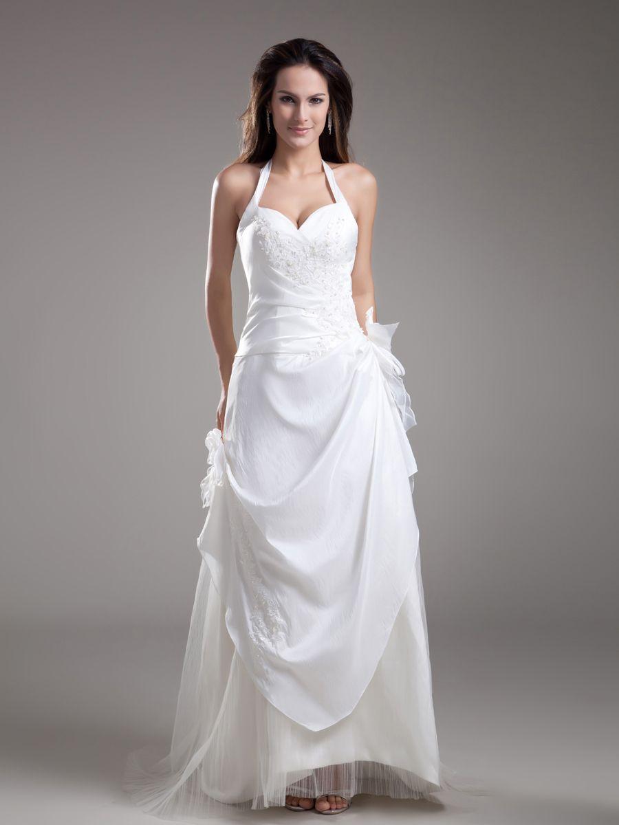 Halter taffeta princess wedding dress with tulle underlay and flower