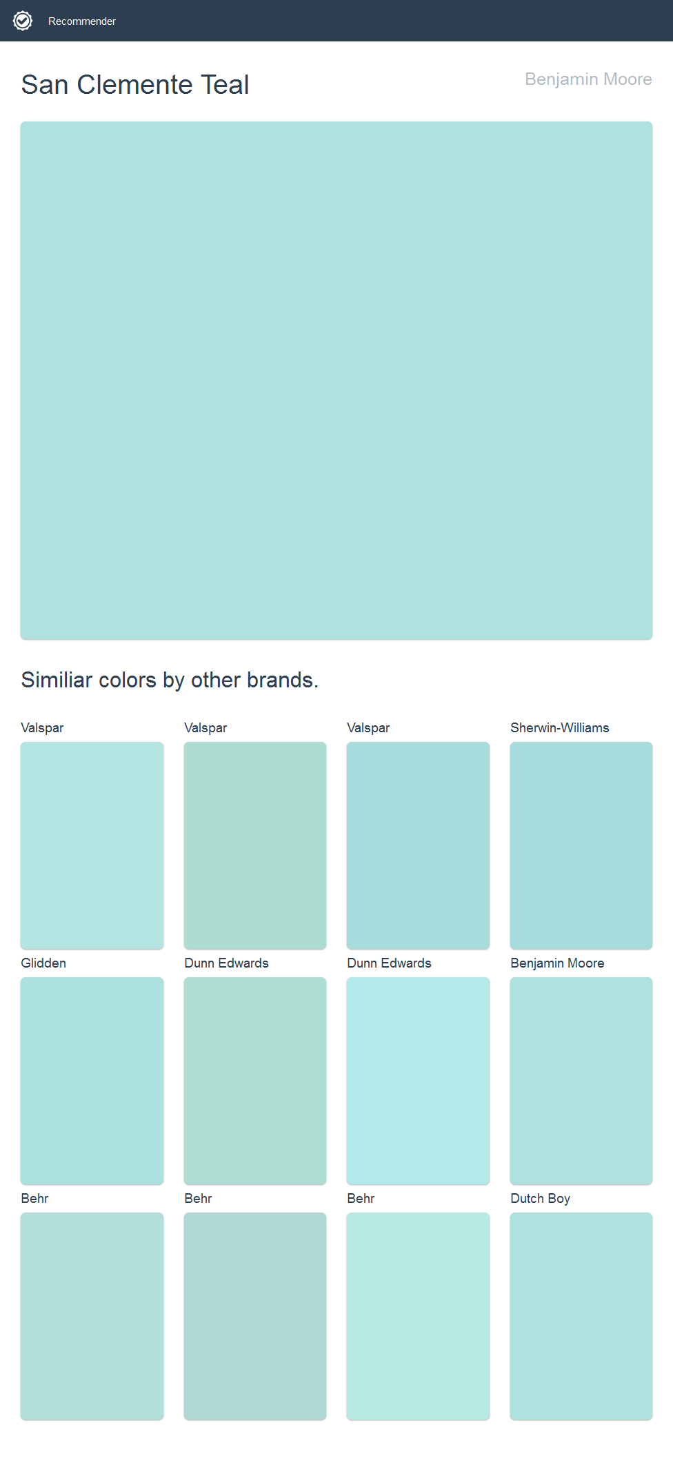San Clemente Teal, Benjamin Moore Click The Image To See