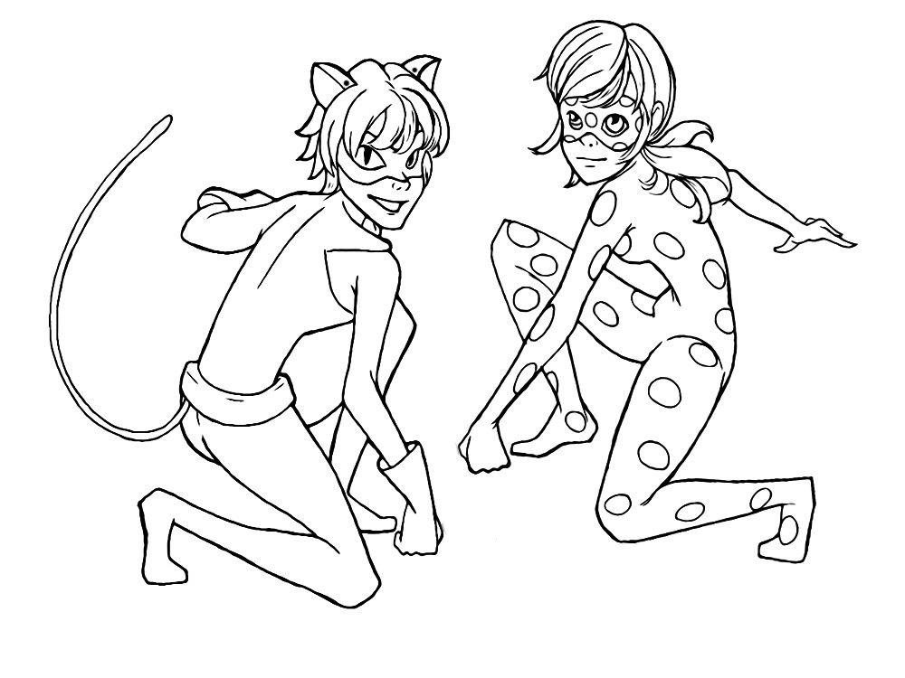 Dibujos para imprimir y colorear de ladybug y cat noir