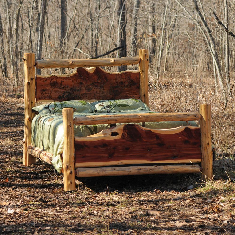Cedar log rustic bed rustic bed logs and log furniture for Log ideas