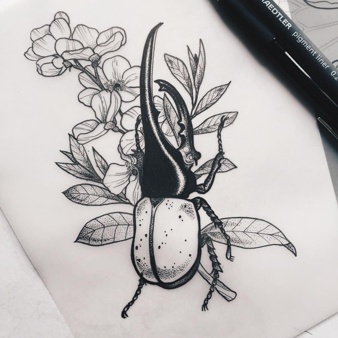 hercules beetle, new & ready to tattoo #tattoodesign #drawing ...