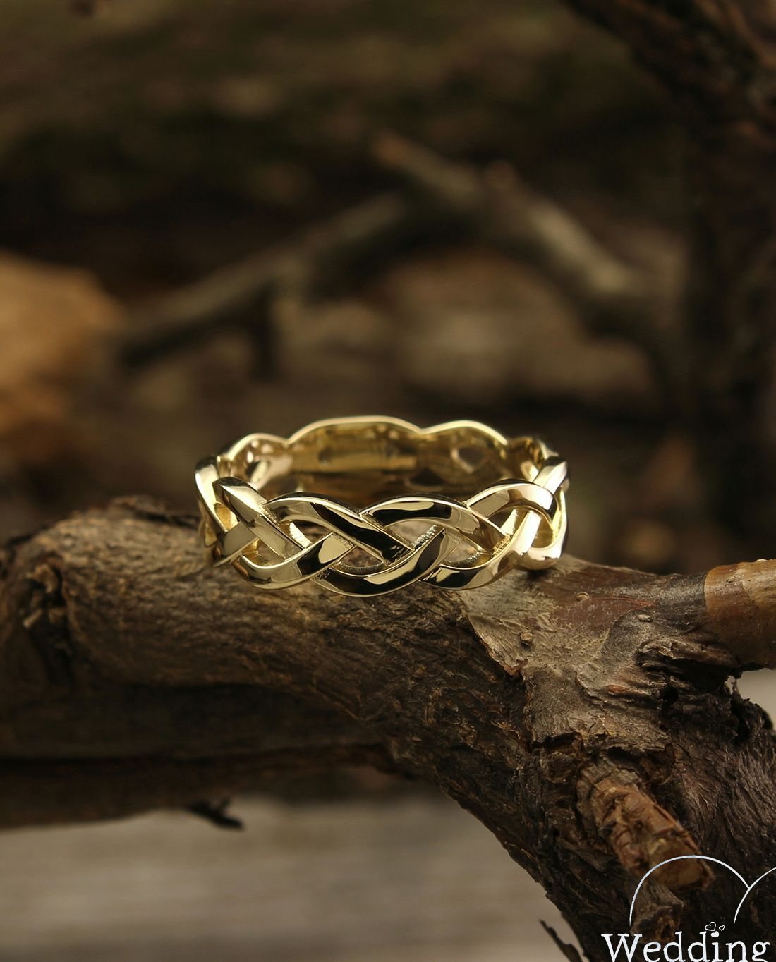 14k Yellow Gold Braided Wedding Band Twisted Gold Ring 14k Etsy Braided Wedding Band Twisted Gold Ring Gold Wedding Rings