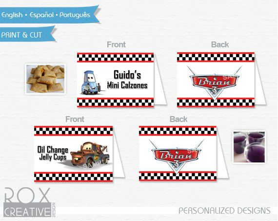 Cars Food Tents Disney Car food labels by RoxCreativeDesign