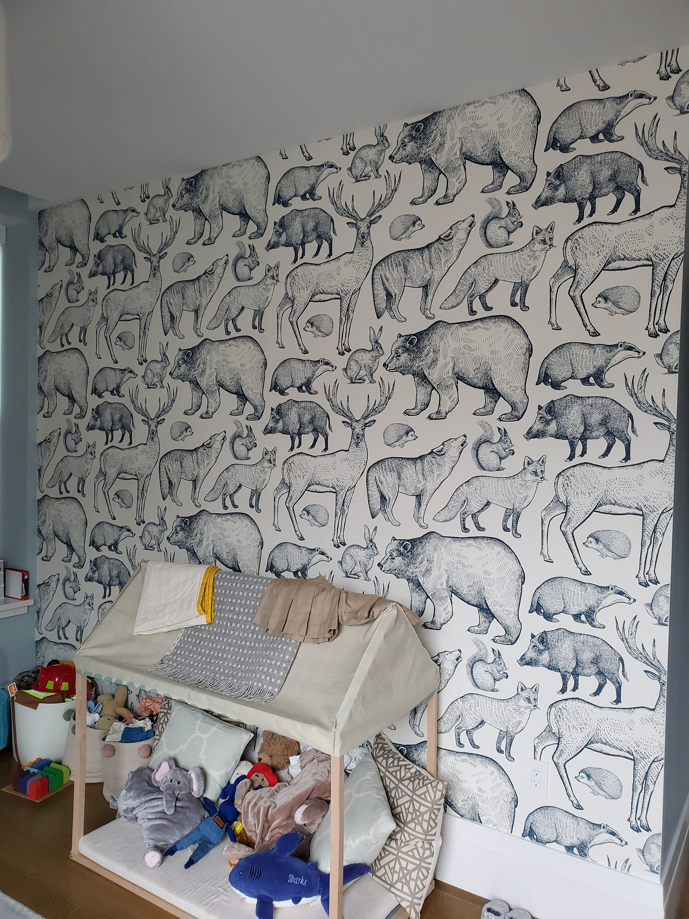 Pink forest animals removable wallpaper pink and beige 9
