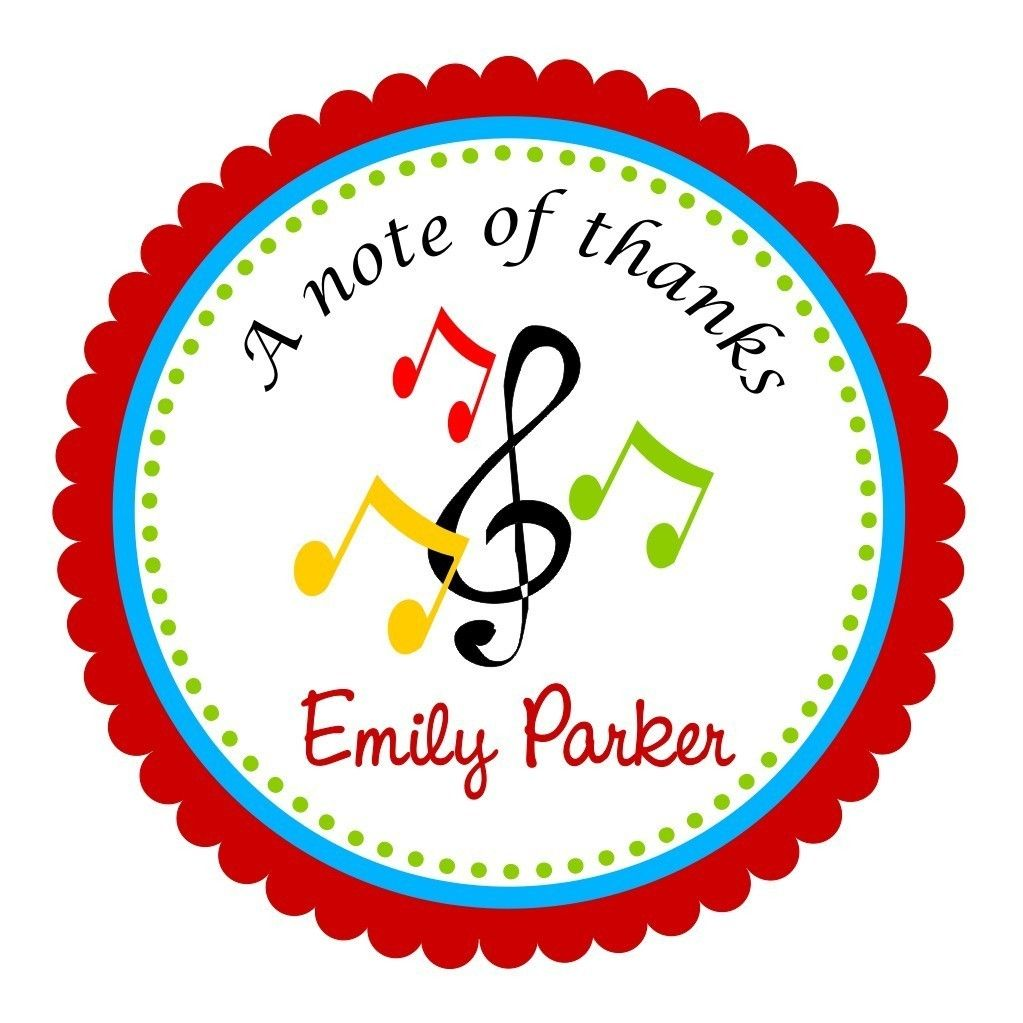 Music Notes Stickers, Personalized Labels, Music Gift Tags