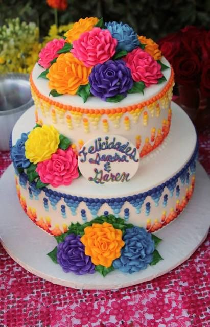 1ffcd49ebde Gorgeous cake at a Mexican Fiesta Bridal Shower  mexicanfiesta  bridalshower
