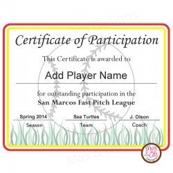 Softball Certificate Of Participation Certificates