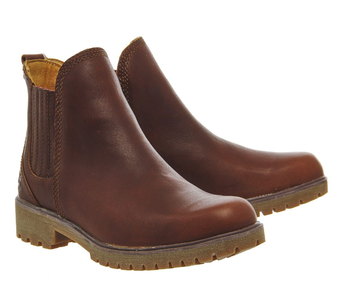 Timberland Lyonsdale Chelsea Womens Ankle Boots Cognac Forty Leather