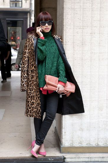 Très Chic! The Best Street Style at Paris Fashion Week: High-impact colors topped off with leopard print.