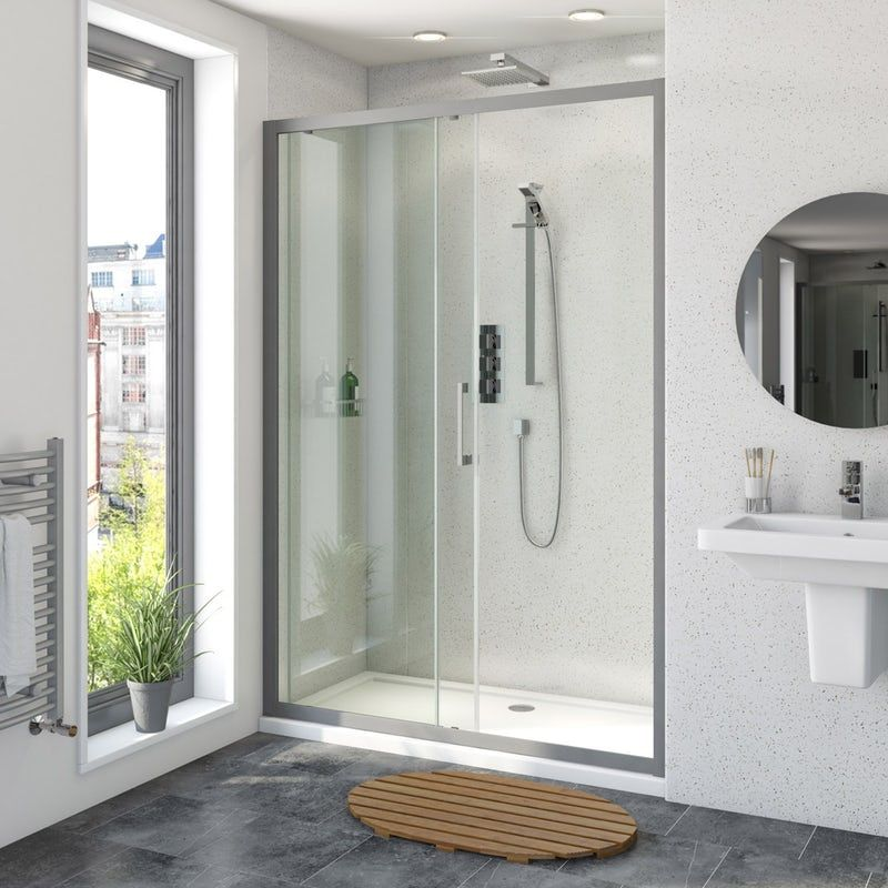 Mode 8mm Matt Grey Framed Sliding Shower Door 1200mm Shower Doors Sliding Shower Door Shower Enclosure