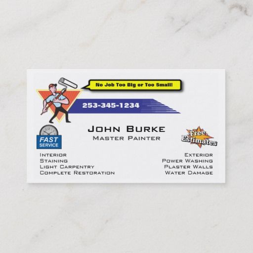 Painter Painting Contractor Business Card Zazzle Intended For Samples Of Plastering Busi Painter Business Card Printing Business Cards Business Card Template
