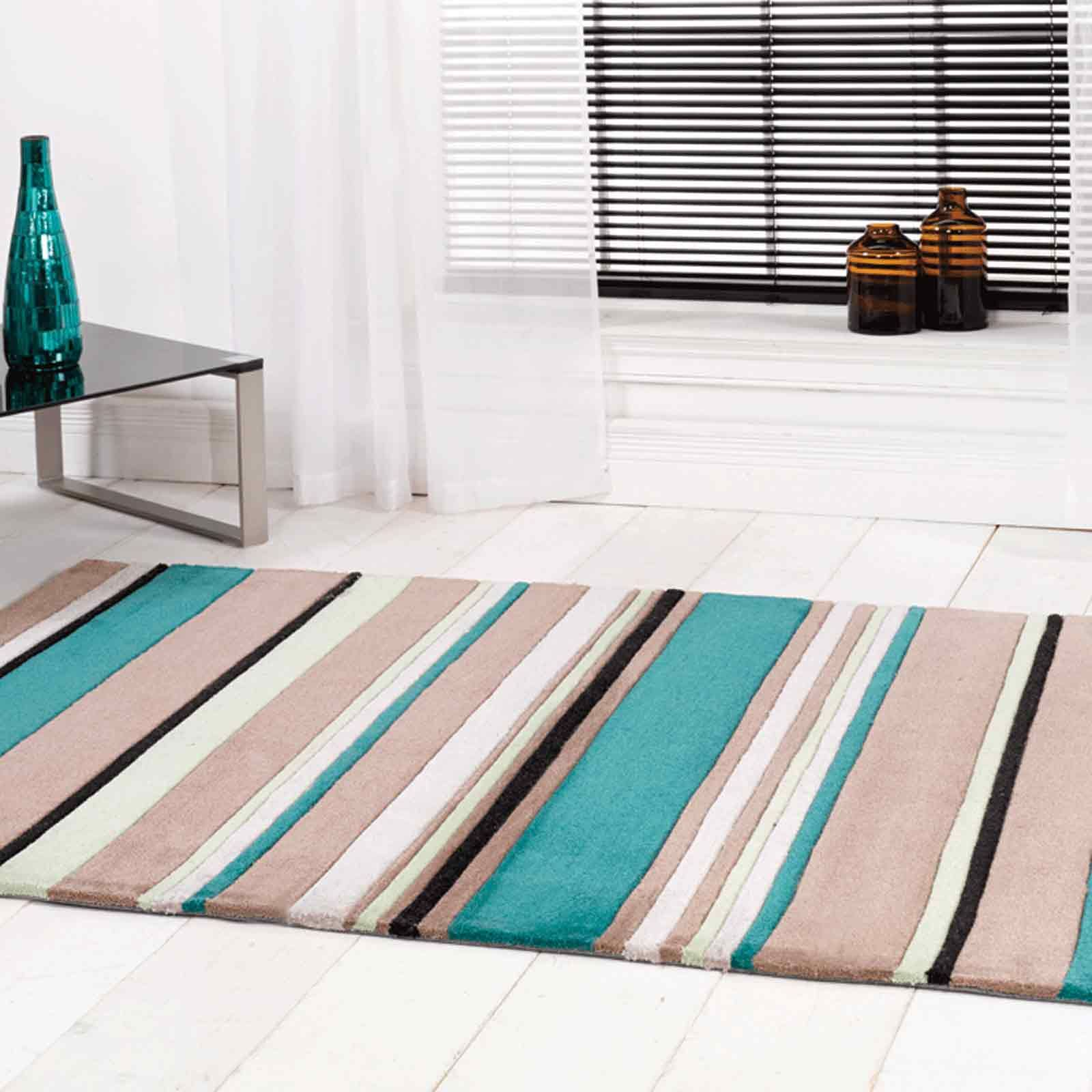 Inspire Broad Stripe Rugs In Teal Turquoise
