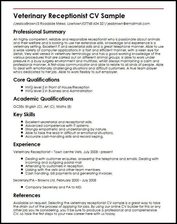 Veterinary Receptionist Cv Sample Myperfectcv In 2020 Veterinary Receptionist Job Resume Samples Sample Resume