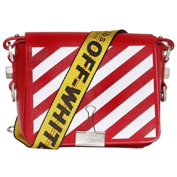 7ef8a08a7557 Off White Women Stripes Binder Clip Leather Shoulder Bag ( 965) ❤ liked on  Polyvore