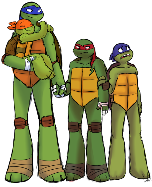 so leo is 15, raph is 12, donnie is 8 and mikey is like 5