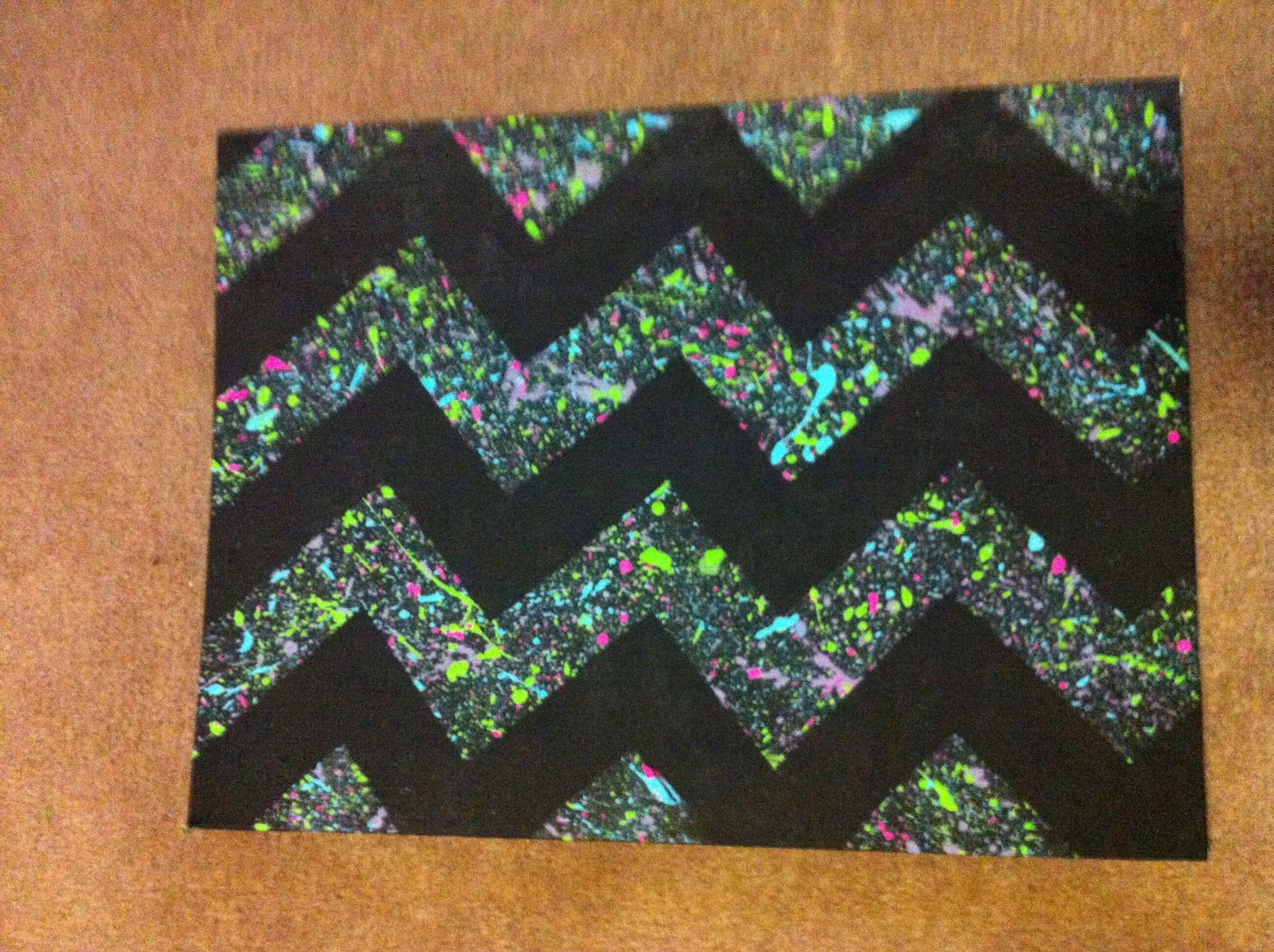 How to make a splattered paint canvas with the chevron pattern.