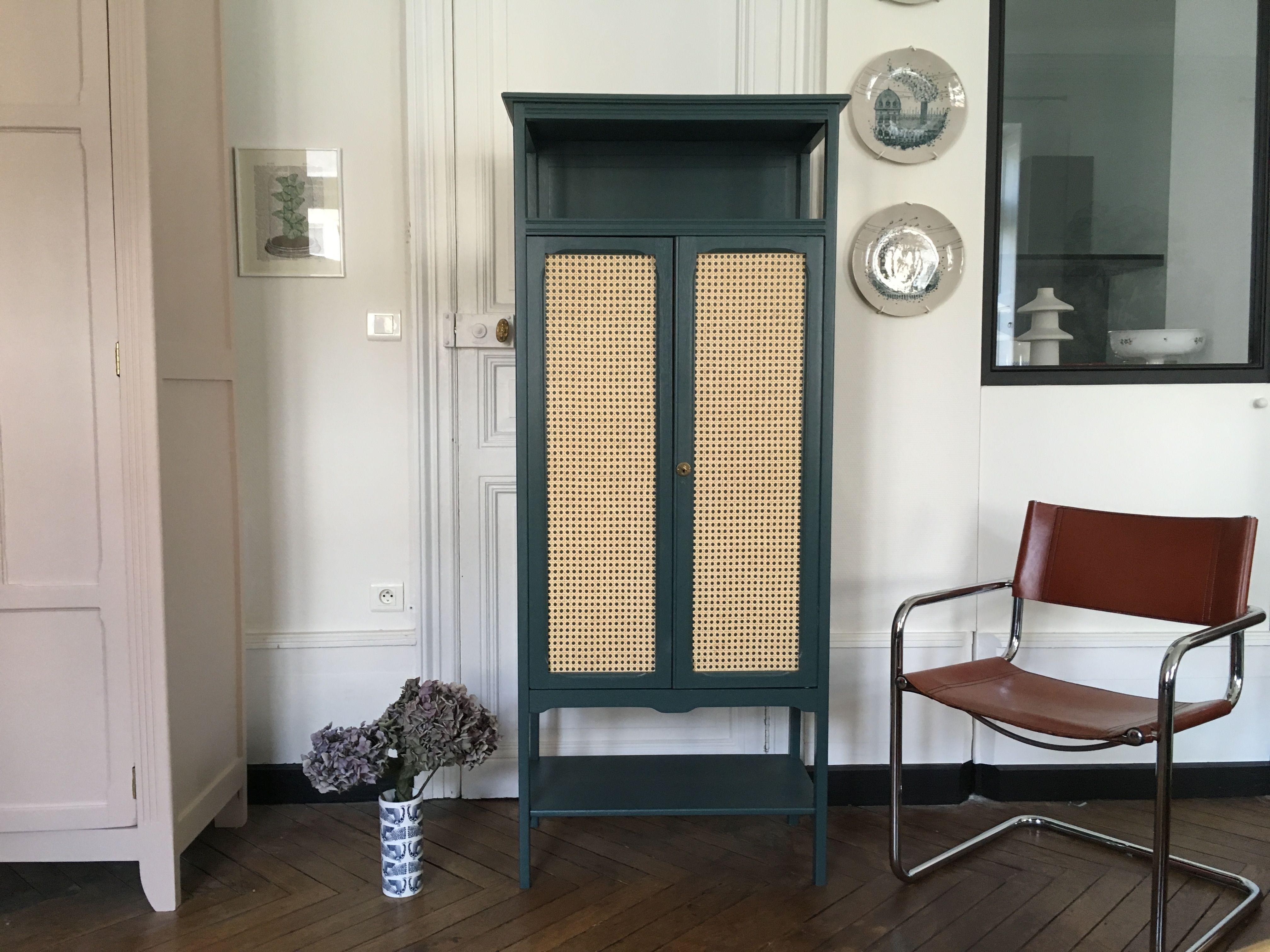 Armoire En Cannage Bleu Vert Meubles Vintage Nantes Relooking Meuble Mobilier De Salon Diy Meuble